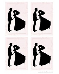 image: A4 Wedding Bride & Groom silhouettes (4 per sheet) edible image
