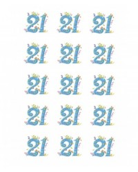 image: Cupcake edible images (15) 21st Birthday Blue Streamers