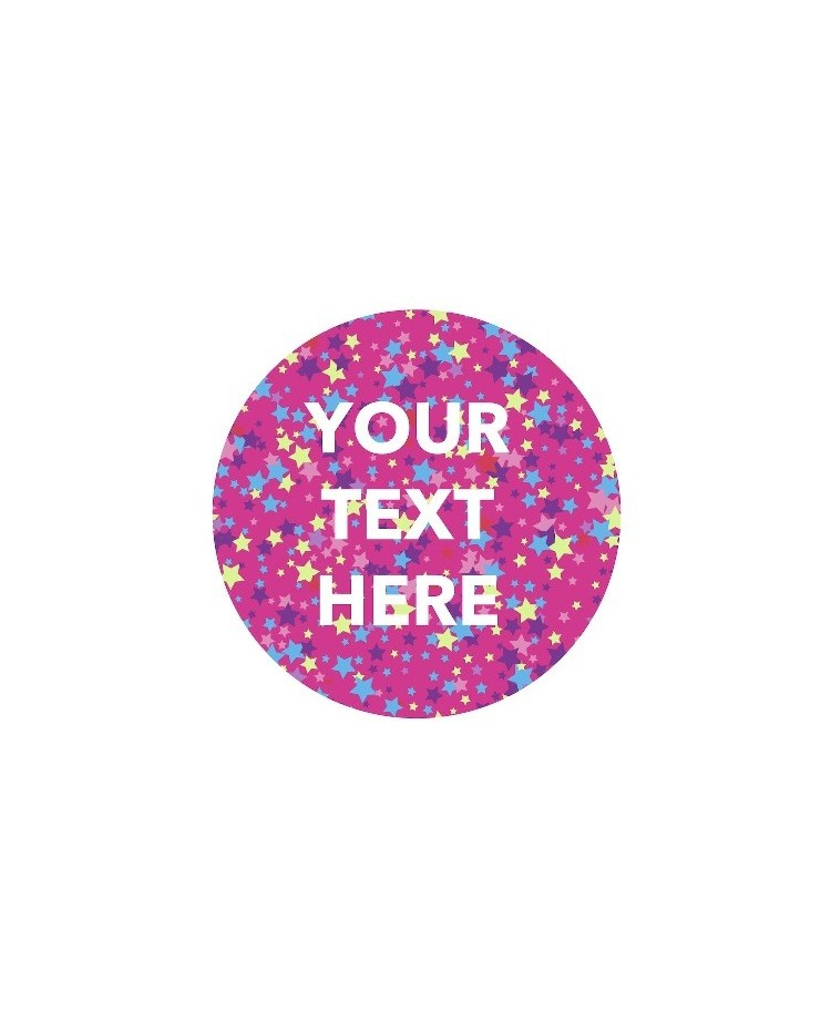 image: Custom edible icing image 19cm ROUND Pink with stars