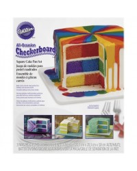 image: Checkerboard SQUARE Cake Pan Tin Set