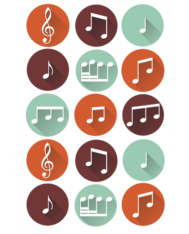 image: Cupcake edible images (15) Musical Notes music theme