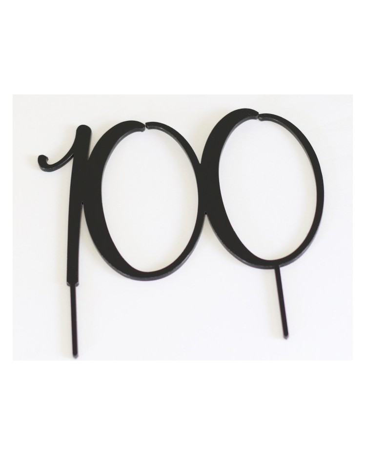Acrylic Black Cake Topper Numeral 100