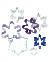 image: Snowflake 7 piece cookie cutter set coloured metal