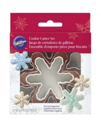 image: Snowflake nesting set 3 coloured cookie cutters
