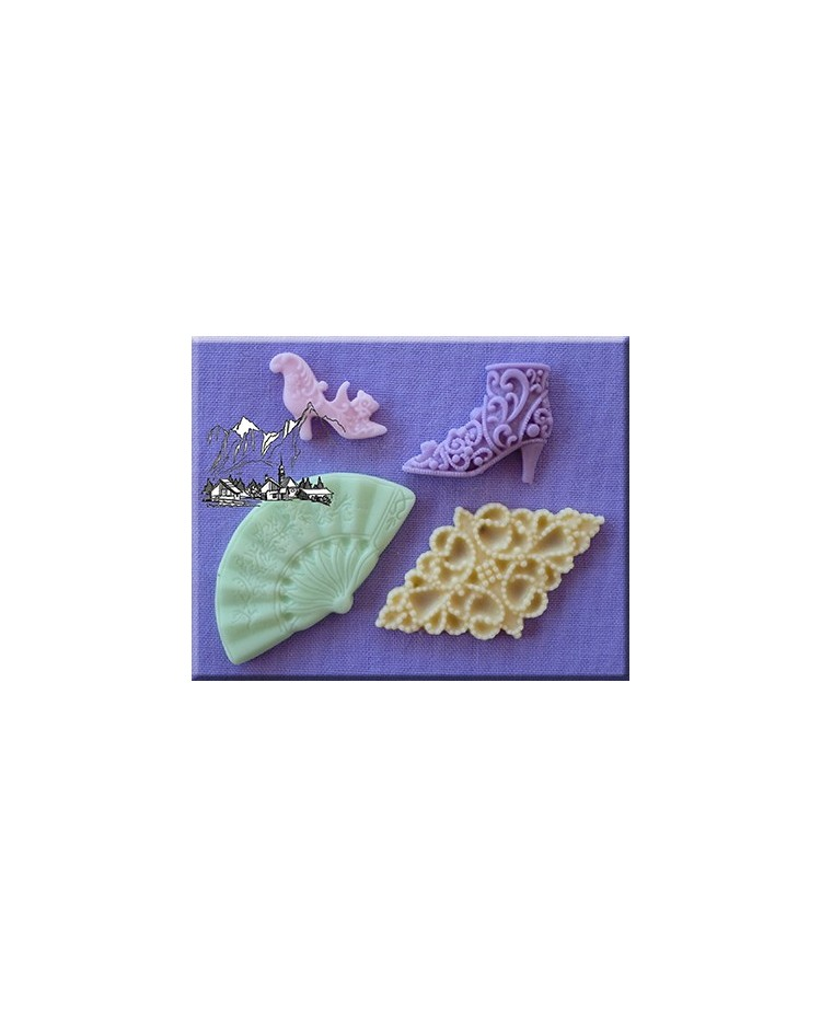 image: Vintage Shoe High Heel & Boot Fan & Brooch silicone mould