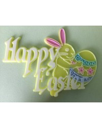 image: Happy Easter Bunny plaque cake topper (can be used as pick)