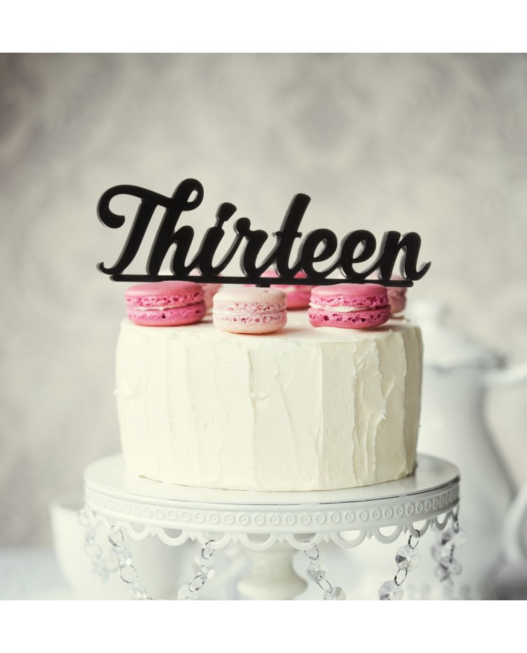 image: Number Thirteen 13 Black Acrylic cake topper pick