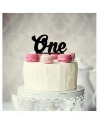image: Number One 1 Black Acrylic cake topper pick