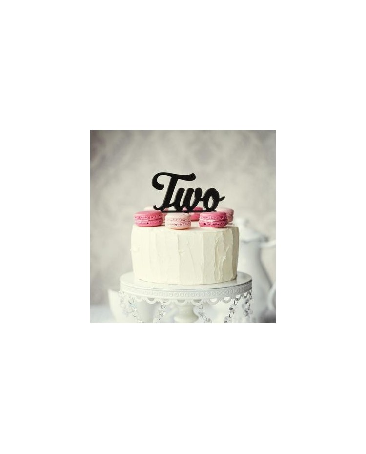 image: Number Two 2 Black Acrylic cake topper pick