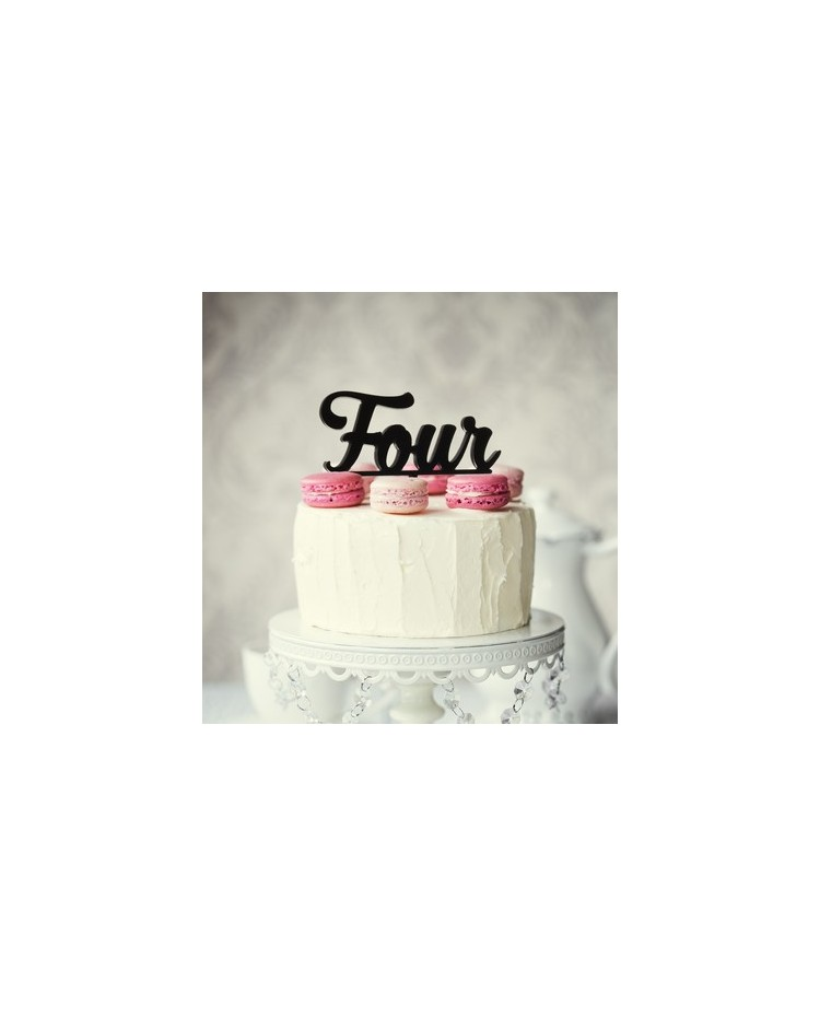 image: Number Four 4 Black Acrylic cake topper pick