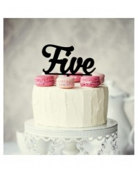 image: Number Five 5 Black Acrylic cake topper pick