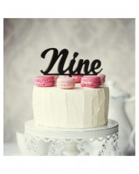 image: Number Nine 9 Black Acrylic cake topper pick