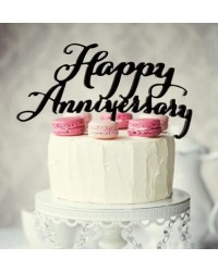 image: Black Acrylic cake topper pick Happy Anniversary