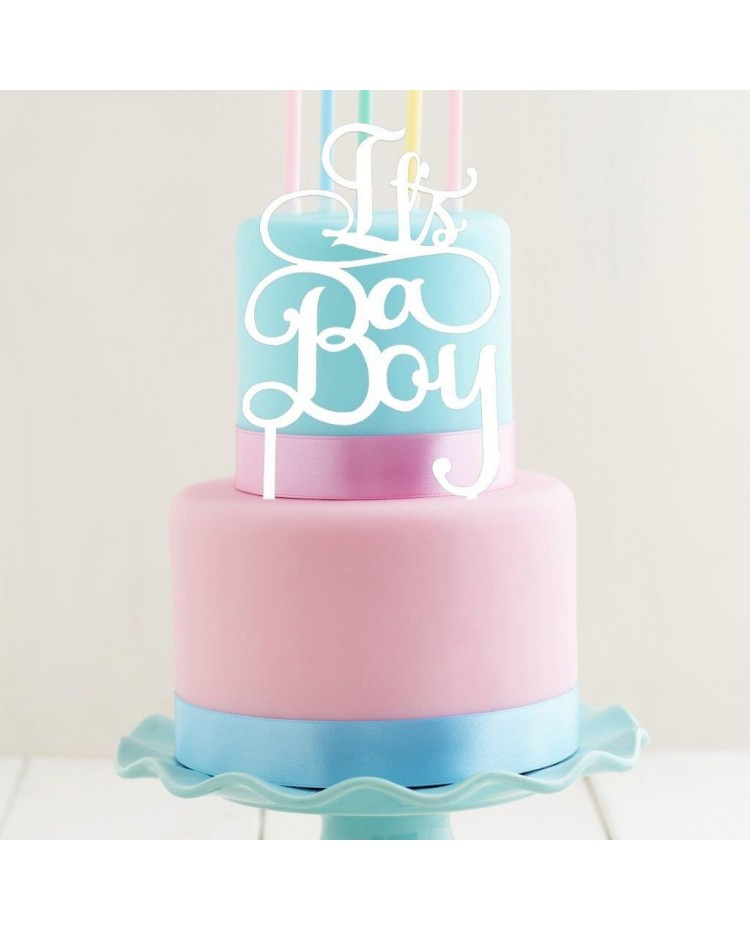 image: White Acrylic cake topper pick Its A Boy