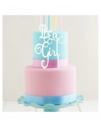 image: White Acrylic cake topper pick Its A Girl