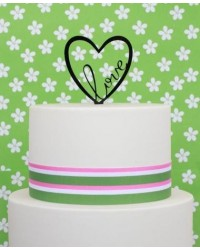 image: LOVE open heart black acrylic cake topper