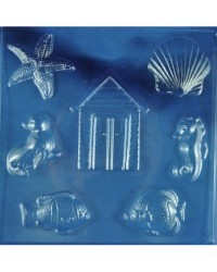 image: Beach & sea theme chocolate mould (starfish fish shells hut)