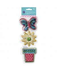 image: Spring cookie cutter set 3 Flower pot butterfly & daisy flower