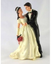 image: Bride & Groom wedding cake topper Wedding Embrace IVORY BRIDE