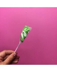 image: Green & White Ribbon twist lollipop (great for drip cakes)