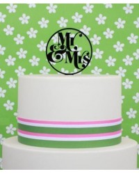 image: Mr & Mrs Black Acrylic Circle cake topper pick