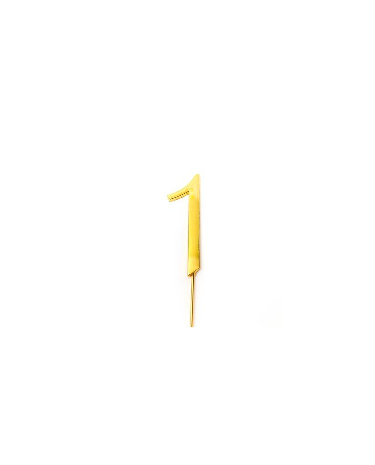 image: Gold metal numeral 1 cake topper pick