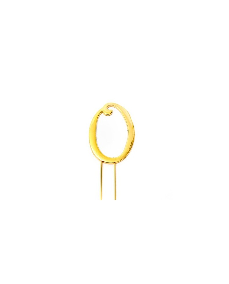 image: Gold metal numeral 0 cake topper pick