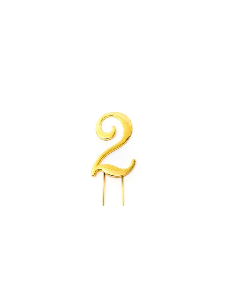 image: Gold metal numeral 2 cake topper pick