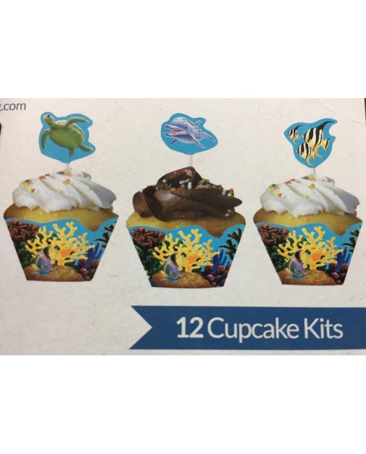 image: Under the sea cupcake wrap & pick set (12) fish turtle dolphin