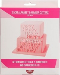 image: GoBake 2.5cm alphabet and number cutter set