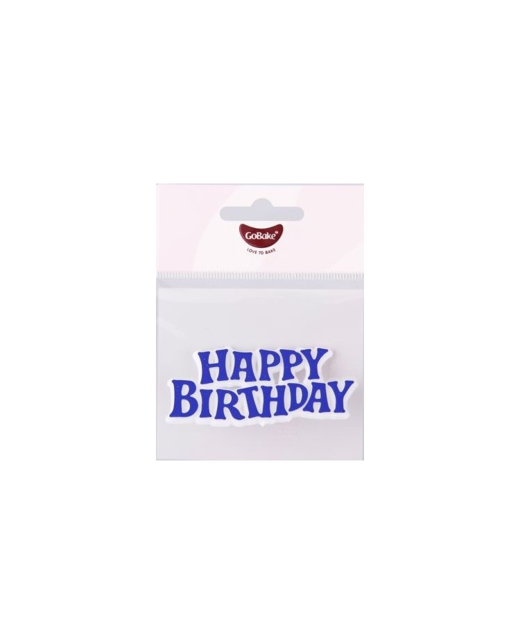 image: GoBake Happy Birthday Plaque Motto BLUE