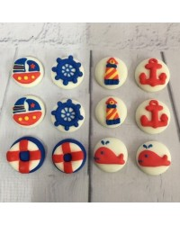 image: Sugar Icing decorations Nautical Anchor & Sailboats (12)