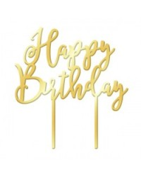 image: Happy Birthday Gold Mirror acrylic topper