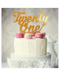 image: Number Twenty One 21 Gold Acrylic cake topper pick