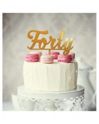 image: Number Forty 40 Gold Acrylic cake topper pick