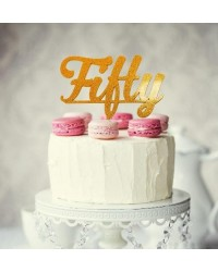 image: Number Fifty 50 Gold Acrylic cake topper pick