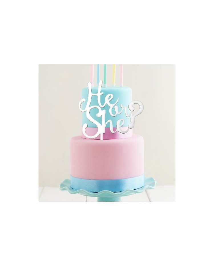 image: Gender Reveal Baby Shower White acrylic topper He or She?