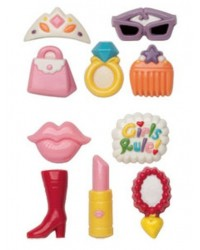 image: Girl power 2 chocolate mould set Tiara Lipstick Ring Purse Boot