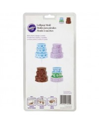 image: 3d or 2d tiered cake shape lollipop chocolate mould set 2 moulds