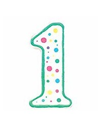 image: Green border #1 numeral Polka Dot Sprinkles number candle
