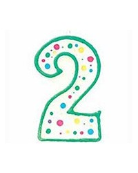 image: Green border #2 numeral Polka Dot Sprinkles number candle