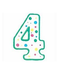 image: Green border #4 numeral Polka Dot Sprinkles number candle