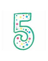 image: Green border #5 numeral Polka Dot Sprinkles number candle