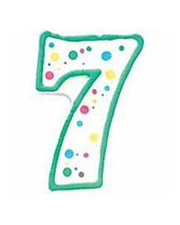 image: Green border #7 numeral Polka Dot Sprinkles number candle
