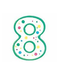 image: Green border #8 numeral Polka Dot Sprinkles number candle