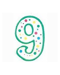 image: Green border #9 numeral Polka Dot Sprinkles number candle