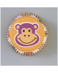 image: Jungle Pals cupcake papers Monkey Zebra tiger elephant lion