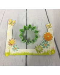 image: Daisy flower MEDIUM green metal cookie cutter