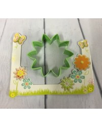 image: Daisy flower LARGE green metal cookie cutter