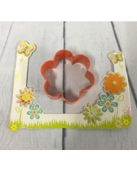 image: Blossom 6 petal flower orange metal cookie cutter